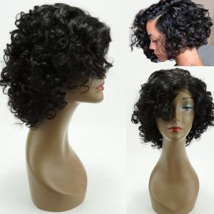 Dyed Perm Side Bang Short Funmi Curly Lace Front Human Hair Wig