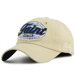 Letters Patchwork Baseball Cap with Number Embroidery - Candy Beige - One Size