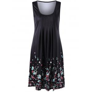 U Neck Sleeveless Knee Length Floral Dress