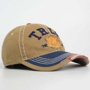 Lettres Bouddha Stripe Brodé Casquette - Camel TAILLE MOYENNE