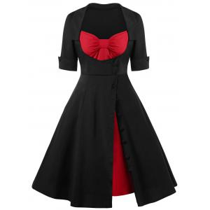Single Breasted Lace Up 50s Dress