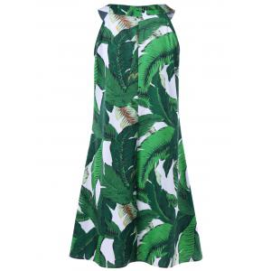 Sleeveless Tropical Print Tent Dress - GREEN XL