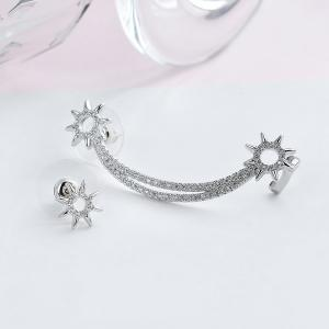 Rhinestoned Moon Sun Asymmetric Earrings