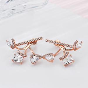 Rhinestone Geometric Teardrop Ear Jackets