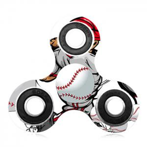 Fiddle Toy Tri-bar Baseball Patterned Plastic Fidget Spinner -