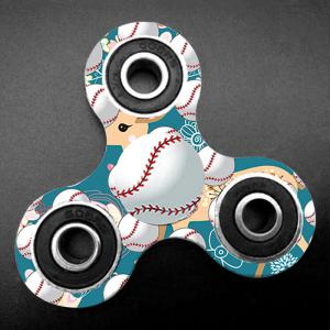 Fiddle Toy Tri-bar Baseball Patterned Plastic Fidget Spinner - TURQUOISE