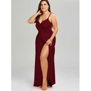 Plus Size Flowy Cover Up Wrap Dress - WINE RED 3XL