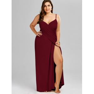 Plus Size Flowy Cover Up Wrap Dress - Rouge vineux 3XL