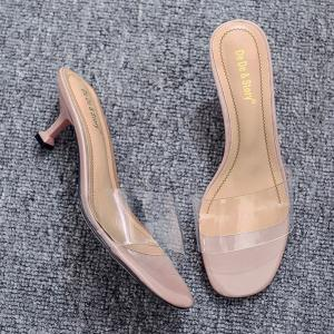 Heeled Transparent Slippers - NUDE 37