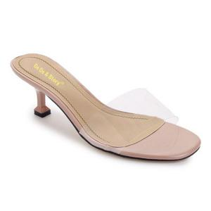Heeled Transparent Slippers - Nude - 39