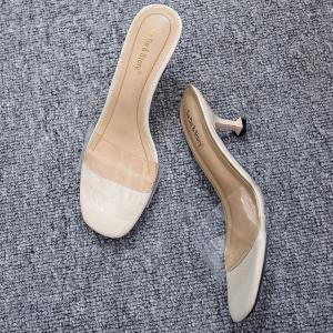 Heeled Transparent Slippers - MILK WHITE 37
