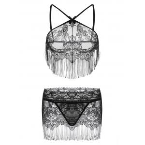 Sheer Lace Fringe Lingerie Bra Set