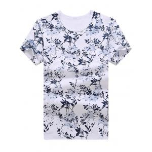 Short Sleeves Floral Tee - White - Xl