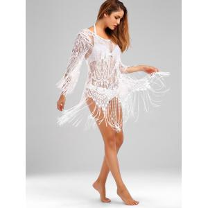 Off Shoulder Fringed Sheer Lace Cover Up - WHITE ONE SIZE