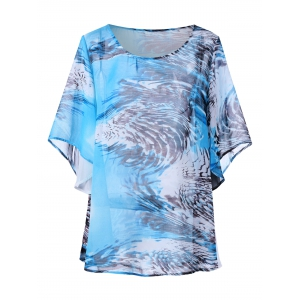 Butterfly Sleeve Printed Plus Size Top
