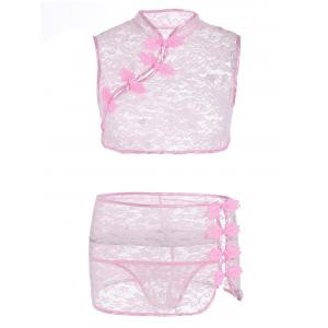 See Thru Lace Cheongsam Lingerie Sets - Pink - One Size