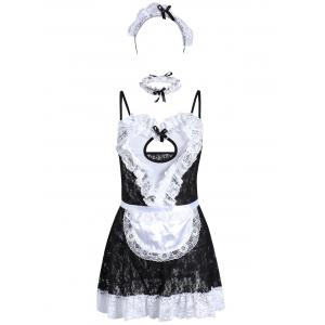 Lace See Through Maid Cosplay Outfits - Black - One Size