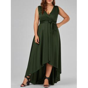 Plus Size V Neck Maxi High Low Dress - Army Green - 4xl