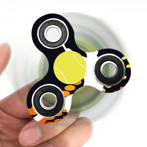 Tri-bar Plastic Tennis Patterned Fidget Spinner Fiddle Toy - BLACK WHITE