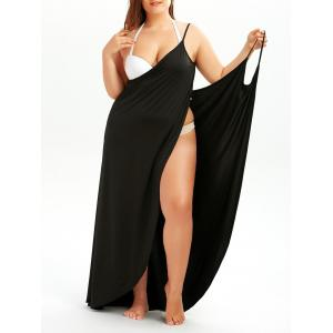 Plus Size Cover Up Beach Wrap Dress - Black - 3xl