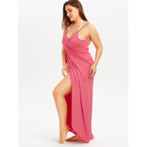 Plus Size Cover Up Beach Wrap Dress - WATERMELON RED XL