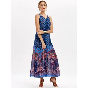 Casual Paisley V Neck Maxi Summer Beach Dress -