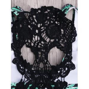 Crochet Panel Jungle Skulls Print Bikini Set - BLACK AND GREEN XL