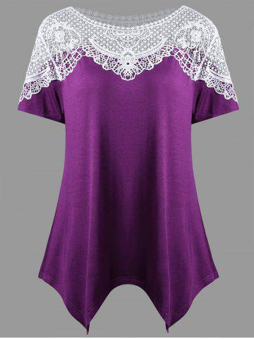 Outfit Hanky Hem Crochet Trim T-shirt - 2XL PURPLE Mobile
