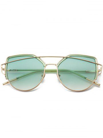 Affordable Metallic Long Crossbar Cat Eye Design Sunglasses - GREEN  Mobile