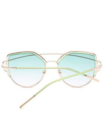 New Metallic Long Crossbar Cat Eye Design Sunglasses - GREEN  Mobile
