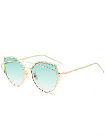 Discount Metallic Long Crossbar Cat Eye Design Sunglasses - GREEN  Mobile