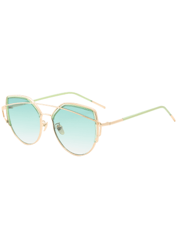 Cheap Metallic Long Crossbar Cat Eye Design Sunglasses - GREEN  Mobile