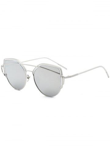 Metallic Long Crossbar Cat Eye Design Sunglasses - Silver
