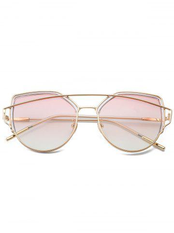 Outfit Metallic Long Crossbar Cat Eye Design Sunglasses - PEARL LIGHT PINK  Mobile