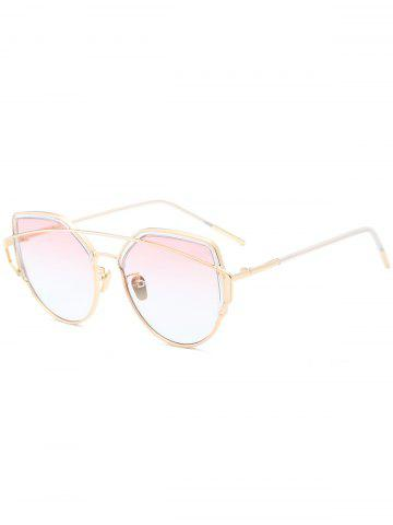 Trendy Metallic Long Crossbar Cat Eye Design Sunglasses - PEARL LIGHT PINK  Mobile