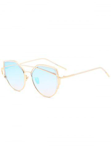 Outfit Metallic Long Crossbar Cat Eye Design Sunglasses - LIGHT BLUE  Mobile