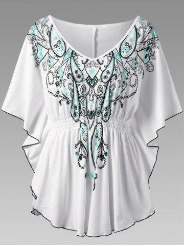 Butterfly Sleeve Graphic Asymmetrical Plus Size Top - White - 5xl