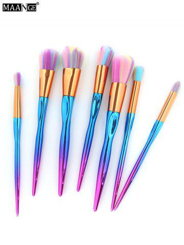 MAANGE 7Pcs Multicolor Hair Sunk Handle Makeup Brush Set - Colorful - Eu Plug