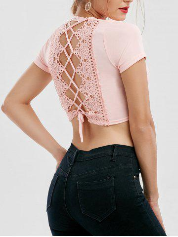 Best Cut Out Lace Up Crop Top - L PINK Mobile