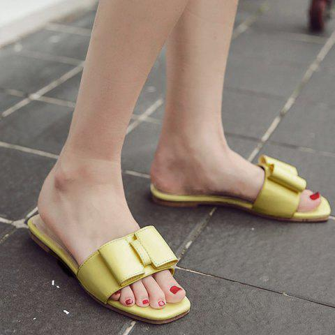 Faux Leather Bow Flat Heel Slippers - Light Yellow - 38