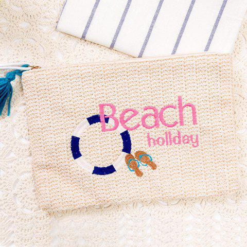 Trendy Beach Embroidery Straw Clutch bag OFF-WHITE