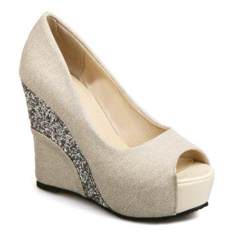 Affordable Wedge Heel Glitter Peep Toe Shoes - 37 APRICOT Mobile