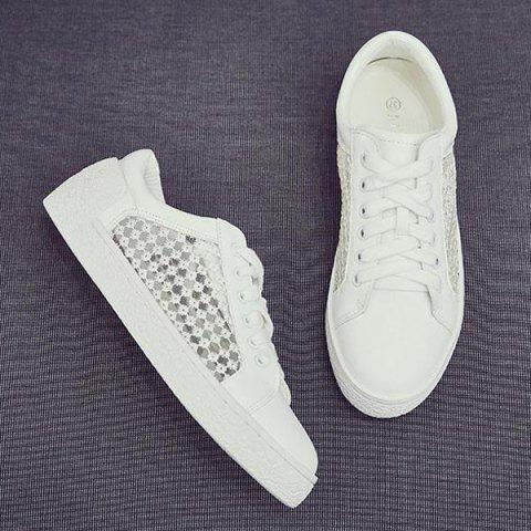 Discount Breathable Mesh Athletic Shoes - 40 WHITE Mobile