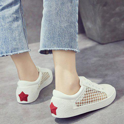 Online Breathable Mesh Athletic Shoes - 40 WHITE Mobile