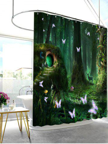 Cheap Mew Forest Mildew Resistant Fabric Shower Curtain - W71 INCH * L79 INCH BLACKISH GREEN Mobile