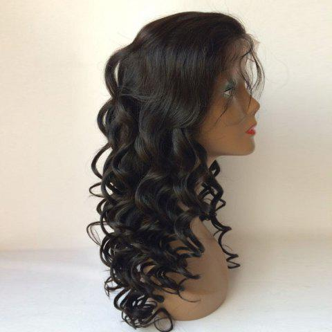 Shop Perm Dyed Long Free Part Body Wave Lace Front Human Hair Wig - BLACK  Mobile
