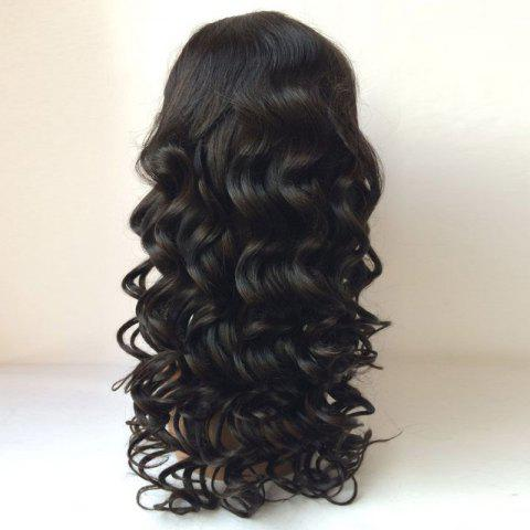 Fashion Perm Dyed Long Free Part Body Wave Lace Front Human Hair Wig - BLACK  Mobile