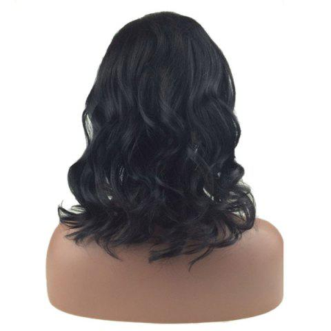 Sale Medium Dyed Perm Side Part Wavy Bob Lace Front Human Hair Wig - 12INCH BLACK Mobile