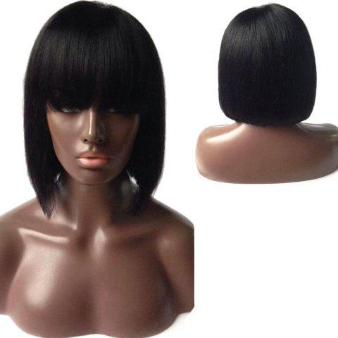 Sale Dyed Perm Short Straight Bob Full Bang Lace Front Human Hair Wig - 10INCH BLACK Mobile