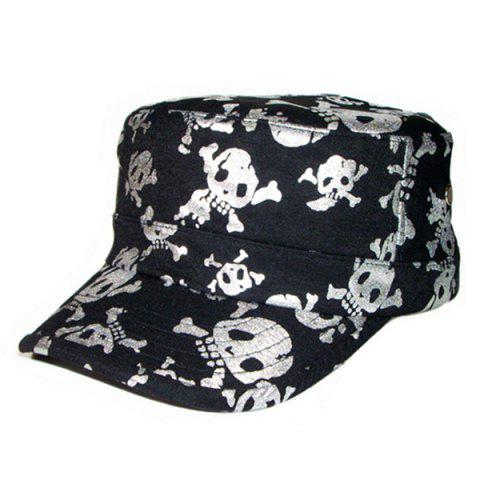 Flat Top Shimmer Skull Printing Military Hat - Silver - S